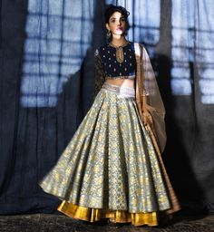 A stunning lehenga in a rare colour combination by Anju Modi Clothing. Definitely something to get your hands on. Indian Attire, Indian Wear, Bride Indian, Indian Style, Indian Ethnic, Anarkali, Churidar, Lehenga Choli, Sabyasachi Lehengas