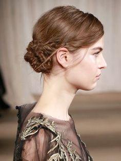 Hair Ideas: DIY Bridesmaid Styles Inspired by the Runways  -- Marchesa Fall 2013 twisty bun | allure.com