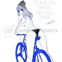 自転車とニットキャップ ガールズイラスト | デザインTシャツ通販 T-SHIRTS TRINITY(Tシャツトリニティ)