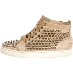 Christian Louboutin Louis Spike Sneakers ($595) ❤ liked on Polyvore featuring shoes, sneakers, brown, suede high top sneakers, lace up sneakers, spiked sneakers, brown suede shoes and suede shoes
