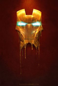 Marvel Comics Gilded Iron Man And Loki Illustrations by Sam Spratt