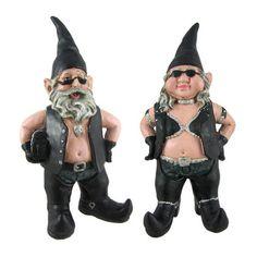 gnoschitt and gnofun pair of biker garden gnomes