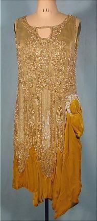 1926 Gold Bullion Lame Flapper Dress with Beaded Net, Gold Velvet and Rhinestone Ornament!