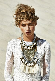 ethereal eclectic. braid, statement necklace & white dress