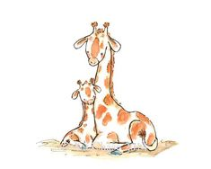 """BABY MINE GIRAFFE - """"Celebrate the bond between parent and child with this simply beautiful reproduction of my original illustration. Elephant Wall Art, Giraffe Art, Safari Nursery, Nursery Art, Giraffe Nursery, Art Mignon, Baby Mine, Baby Art, Pics Art"""