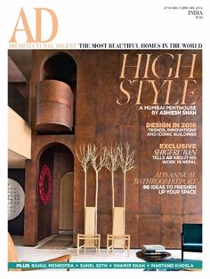 AD (Architectural Digest) India Cover, January-February Sedia Fiorita (wood chair) by Giuseppe Rivadossi. Ad Architectural Digest, Indian Architecture, Architecture Design, Innovative Websites, India Design, Small Space Living, Living Spaces, Celebrity Houses, Design Trends