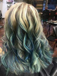 Blonde and cobalt/sapphire/mermaid blue hair