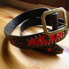 Red classic Western Rockabilly Studded and jeweled belt from Canyonero.
