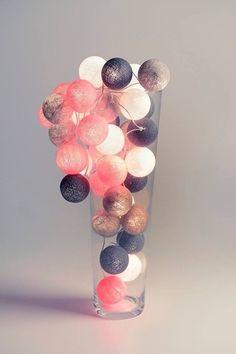 Girlanda świetlna Grey & Pink 35 kul w 9designScandi na DaWanda.com #niezchinzpasji