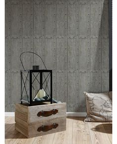 This stylish Wood Panel Rivets Wallpaper would make a great feature in any room. The design features realistic wood panels with rivets around the edges and a detailed wood grain effect in tones of grey Wood Effect Wallpaper, Wood Paneling, Wood Grain, Brick, Wall Decor, Colours, Stone, Stylish, Grey