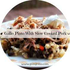 Gallo Pinto is a national dish of Costa Rica--black beans and rice, perfectly seasoned. It's a popular breakfast dish, but also tastes good with just about any protein for dinner. I served it this week with pulled pork.