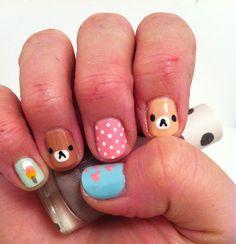 Kawaii Japanese painted and gawdy nails Rilakkuma Love Nails, Fun Nails, Pretty Nails, Pedobear, Korean Nails, Cute Nail Art Designs, Kawaii Nails, Nail Blog, Rainbow Nails