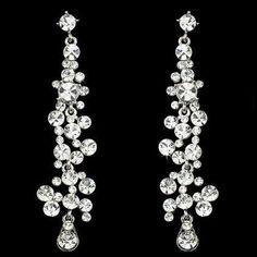 Chandelier Earrings in Silver at PromDressShop.com