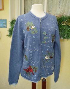 Croft Barrow Embellished Snowflake Birds Sweater L Winter Classic Cute Party #CroftBarrow #FullZipCardigan