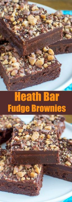 Heath Bar Fudge Brownies - quite possibly the BEST homemade brownies EVER!Heath Bar Fudge Brownies - quite possibly the BEST homemade brownies EVER! Cookie Desserts, Sweet Desserts, Chocolate Desserts, Easy Desserts, Sweet Recipes, Delicious Desserts, Mint Chocolate, Chocolate Chips, Chocolate Ganache