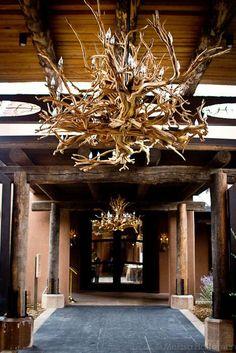 El Monte Sagrado, Taos entrance: chandelier of driftwood fashioned to look like antlers