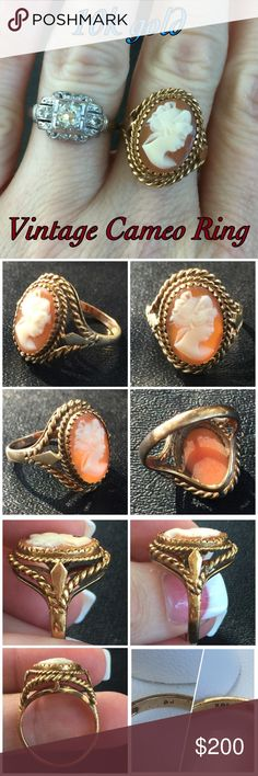 10k gold Vintage Cameo Ring Beautiful!! This is a Beautiful Vintage 10k Yellow Gold Cameo Ring. Size 6.75-7. Marked 10k AJ. The ring is in great vintage condition with a few surface scratches on the band consistent w/ age & wearing it. I don't know much about cameos but it's beautiful & the setting is so detailed around the cameo! This would be a great addition to any vintage collection or as a gift! Thanks for looking! I ship same day! Please make REASONABLE offer using offer button only…