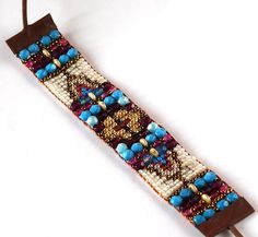 Beaded loomed bracelet, Blue bracelet, Ethnic beaded bracelet, Boho style jewelry, Beaded bracelet, Friendship beaded loom bracelet Colourful bead loom bracelet is made out of tiny Japanese glass beads. The style is inspired by ethnic textile patterns. It looks great with both elegant and
