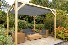 The pergola kits are the easiest and quickest way to build a garden pergola. There are lots of do it yourself pergola kits available to you so that anyone could easily put them together to construct a new structure at their backyard. Backyard Shade, Backyard Canopy, Garden Canopy, Pergola Canopy, Canopy Outdoor, Outdoor Pergola, Pergola Shade, Diy Pergola, Backyard Patio