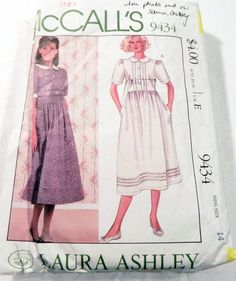 """1980s Laura Ashley Peasant dress pleated tucked front gathered skirt sewing pattern Size 14 Bust 36"""" McCalls 9434 by retroactivefuture on Etsy"""