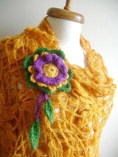 ON SALE Mustard Triangle Shawl By Crochetlab Fashion by crochetlab, $56.10