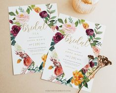 Fall Bridal Tea Invitation Template Autumn Bridal Shower | Etsy
