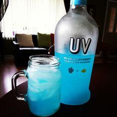 Blue raspberry UV vodka, lemonade, and a splash of Sprite
