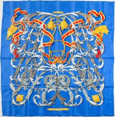 "Hermes Blue and Gold ""Mors a la Conetable,"" by Henri d'Origny SilkScarf"