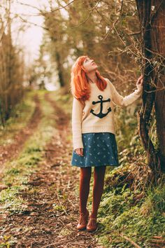Showing off her love for all things nautical, Rebecca of The Clothes Horse looking darling in our anchor sweater.