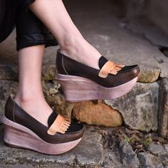 115.00$  Watch more here - http://aio1e.worlditems.win/all/product.php?id=32803700975 - Artmu 2017 Wedges Women's Shoes,Women Leather Loafers Wedges Shoes,8.5 cm Super High Heel Female Platform Shoes Women Standard