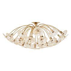 "Lot 2449: GERALD THURSTON (Attr.); LIGHTOLIER Estimate: $1,000 - $1,500  Claremont line chandelier, USA, 1950s/60s; Polished brass, textured glass; Unmarked; 16"" x 40"" dia. #LIGHTOLIER #lighting #lightingideas #lightinginspirations"