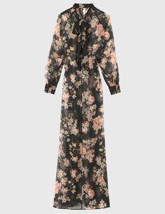 Robe longue en voile imprimé fleuri