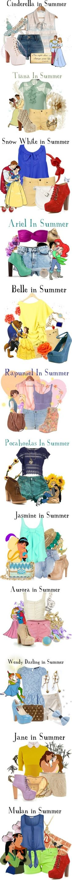 I absolutely would wear the outfits of Cinderella, Snow White, Rapunzel, Pocahontas, and Mulan!! Love those shoes too!!!!