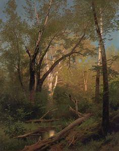 Wooded Landscape with Pool by Hermann Herzog, (circa 1880). Hermann Herzog (1832-1932) was a prominent German artist, primarily known for his landscapes. He's associated with the Düsseldorf school of painting. He was born in Bremen, Northern Germany...