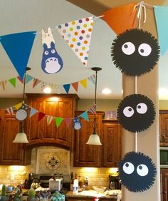 Totoro-themed indoor decorations made from scrapbook paper or poster board.