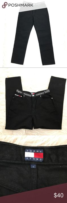 "Tommy Jeans spell out waistband mom jeans VTG 11 VTG 90s Tommy Hilfiger underwear waistband black ""mom jeans"". Classic straight leg with a higher rise and the TOMMY spell out waistband. Pair it with a crop top for a cool streetwear vibe! Size 11. NWT. Approx Measurements while laying flat- waist:  15"" hips: 21"" inseam: 31"" Tommy Hilfiger Jeans Straight Leg"