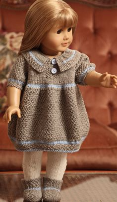 Baby Knitting Patterns Dress My lovely doll Nora was beautiful in this dress Design: Målfrid Gausel Knitting Dolls Clothes, Ag Doll Clothes, Crochet Doll Clothes, Knitted Dolls, Knitting For Kids, Baby Knitting Patterns, Crochet Patterns, Baby Born Kleidung, American Girl Crochet