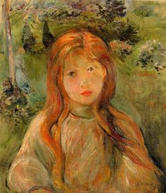 Little Girl At Mesnil (Jeanne Bodeau) - Berthe Morisot (1841 – 1895, French Impressionist)