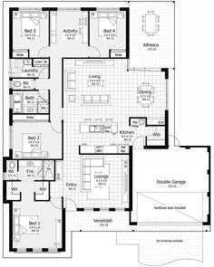 Jmm Floor Plan Friday: Master at front, key drop area, open plan would delete extra toilet by w-d and add space to laundry dry room. Would make entry lounge repurposed space dir living and dining g room for more formal dining New House Plans, Dream House Plans, House Floor Plans, First Home Buyer, Home Design Floor Plans, House Blueprints, Display Homes, Sims House, Story House