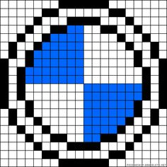 BMW perler bead pattern Pixel Art Templates, Perler Bead Templates, Pearler Bead Patterns, Perler Patterns, Pearler Beads, Afghan Crochet Patterns, Crochet Chart, Cross Stitch Patterns, Knitting Charts