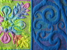 """Close-up, """"Wild Child"""" by Jan Hutchison.  The borders are done with trapunto and the color surrounding the trapunto is all thread - Glide thread, 40 wt trilobal polyester."""