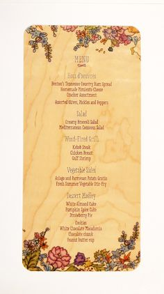 Maple wood menu with color print. Wood Menu, Pimiento Cheese, White Almonds, Country Ham, Menu Boards, Hors D'oeuvres, Stir Fry, Pumpkin Spice, Cafes