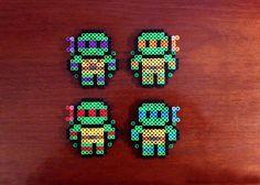 Teenage Mutant Ninja Turtles Inspired 8 Bit Set via eb.perler. Click on the image to see more!