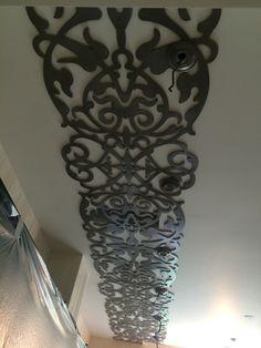 Ceiling laser cut decor Cnc Plasma, Plasma Cutting, Ceiling Decor, Ceiling Design, Faux Plafond Design, Laser Cut Screens, Laser Art, Flat Interior, Ceiling Detail