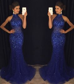 Mermaid Navy Blue High Neck Rhinestone Sequin Prom Dresses,Sleeveless dress,Fishtail prom dress
