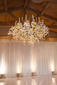 This Floral Chandeliers is a beautiful addition to a wedding reception.