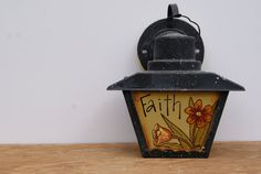 Rustic Wall Sconce Lantern Hand Painted Wall Sconce Lantern Black Metal Wall Sconce Lantern Country Home Decor Wall Sconce Cottage Chic
