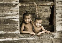 Waraos boys in the Orinoco Delta (Venezuela)