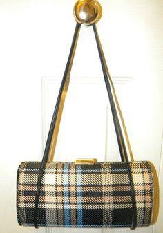 $9.99 NWOT Black/Tan/Blue/Cream Plaid Small Roll Bag ~ Cute~