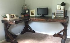How to Build a Desk for $20 (Bonus: 5 Cheap DIY Desk Plans & Ideas) Corner Office Desk, Cheap Corner Desk, Wood Corner Desk, Floating Corner Desk, Modern Corner Desk, Corner Workstation, Cheap Desk, Floating Shelves, Small Corner